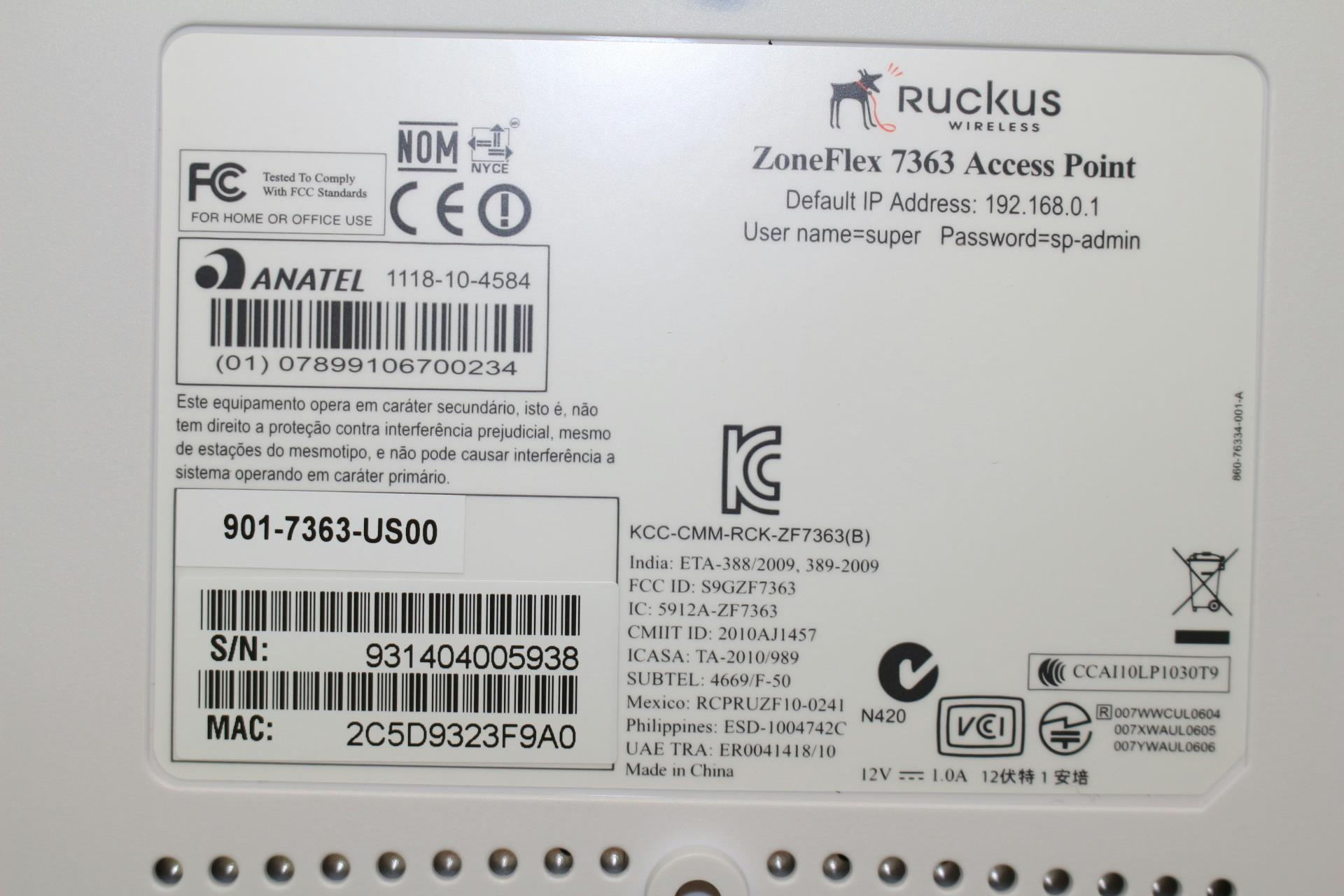 Manufacturer RUCKUS Ruckus Wireless 7363 Dual Band