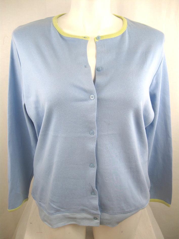 Casual Corner Annex Size 1X Blue Long Sleeve Cotton T ...