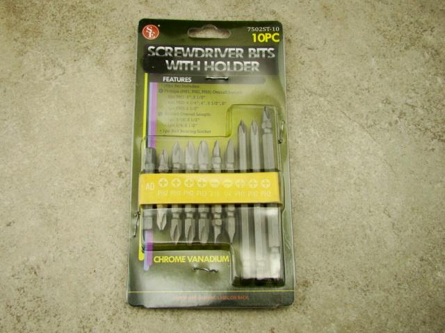 10 pc screwdriver bits with rubber holder set chrome vanadium phillips too. Black Bedroom Furniture Sets. Home Design Ideas