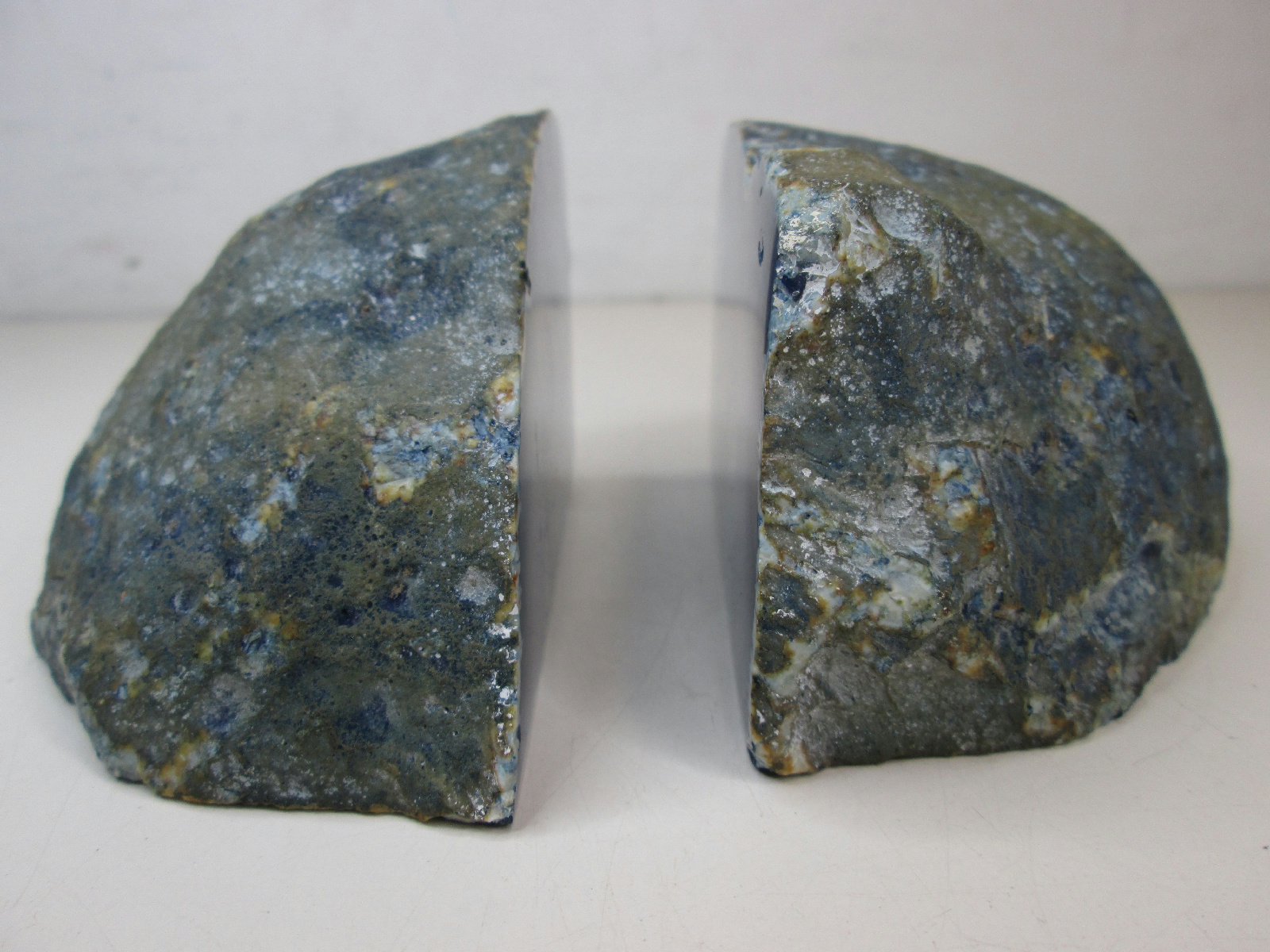 Pair of blue agate geode bookends book ends made in brazil ebay - Geode bookends ...
