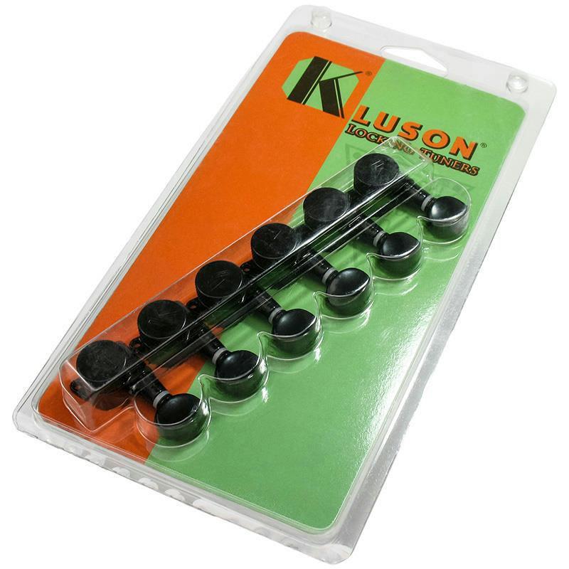 kluson 6 in line contemporary locking guitar tuners black kl 3805bl ebay. Black Bedroom Furniture Sets. Home Design Ideas