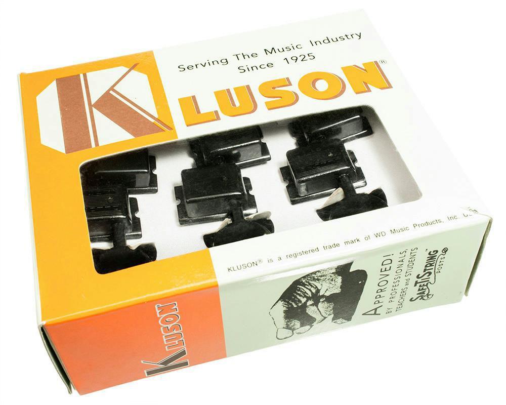 kluson vintage style no mod 6 in line locking tuners black sd9105mbdr l ebay. Black Bedroom Furniture Sets. Home Design Ideas