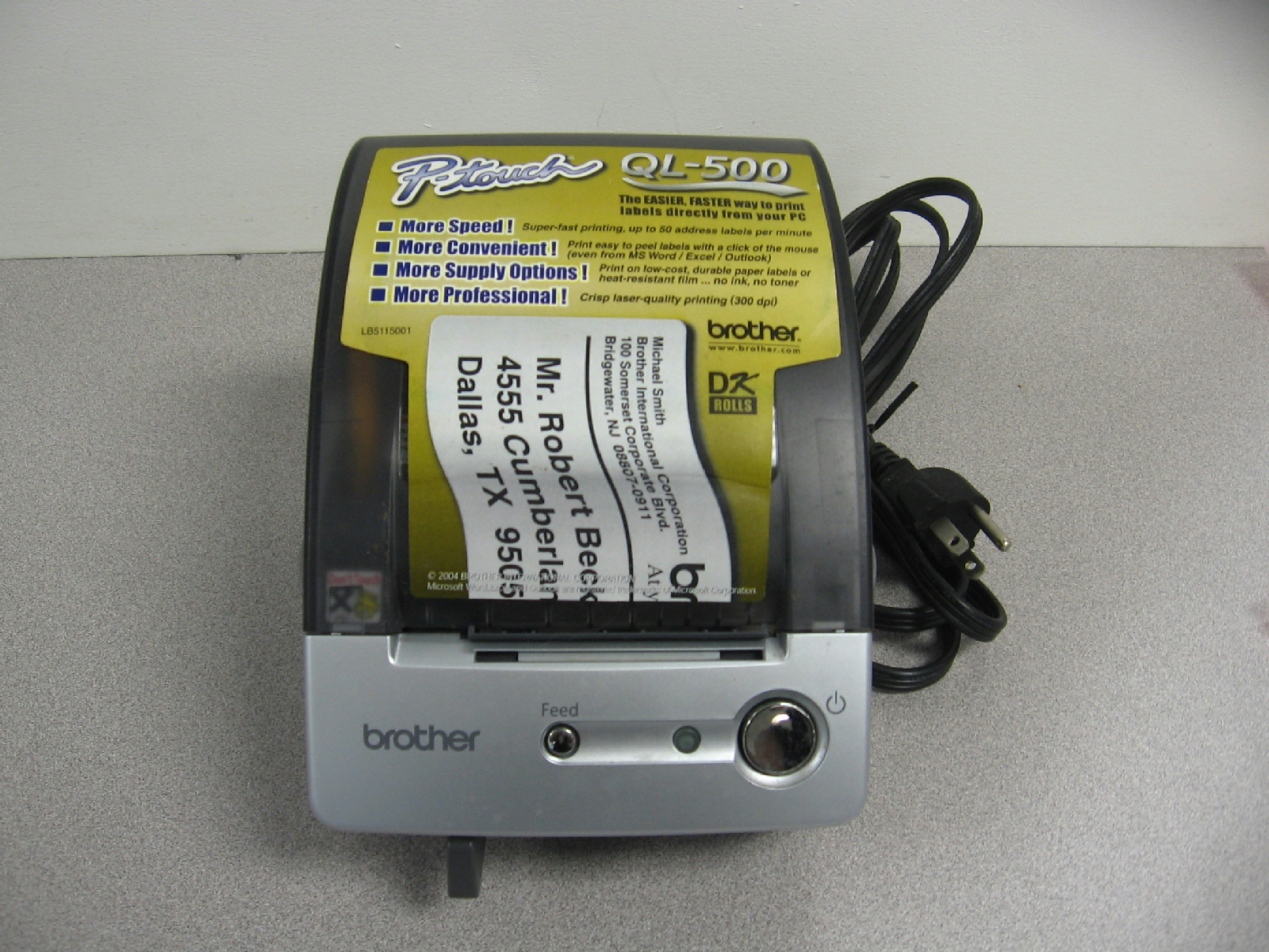Brother p touch ql 500 label printer ebay for Brother label printer templates