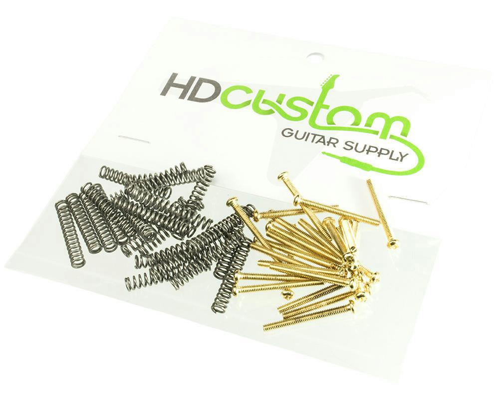 gold humbucker pickup height adjustment screws with springs package of 24 ea ebay. Black Bedroom Furniture Sets. Home Design Ideas