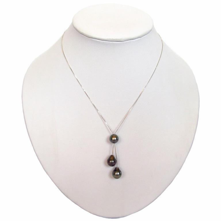 9-10mm Baroque Tahitian Black Pearl 14K Gold Chain Dangle Necklace ...