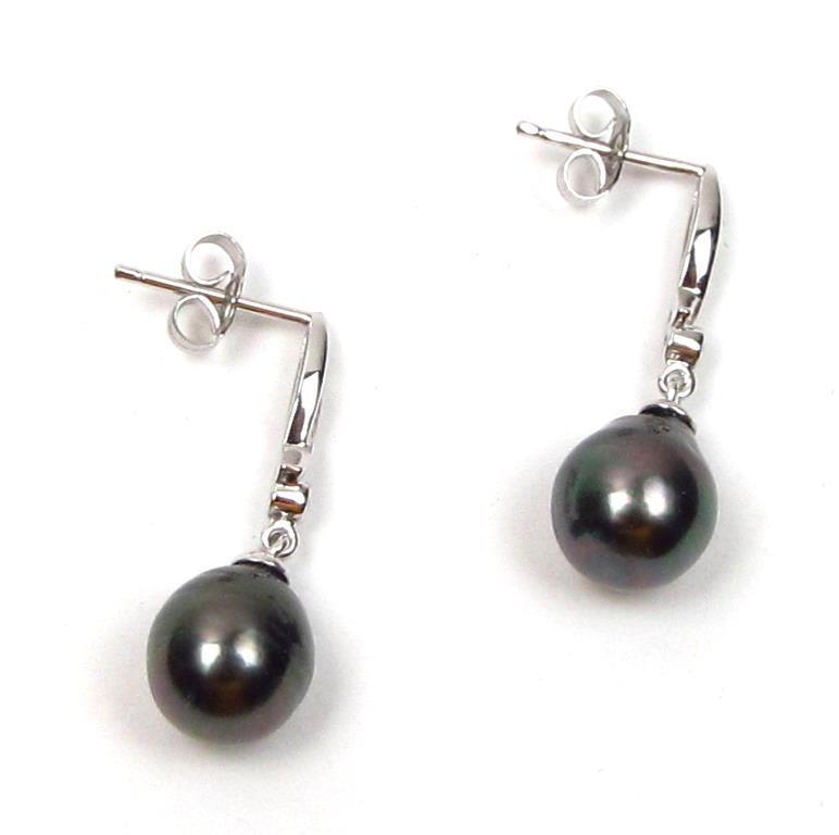 8 9mm tahitian black pearl 925 sterling silver dangle