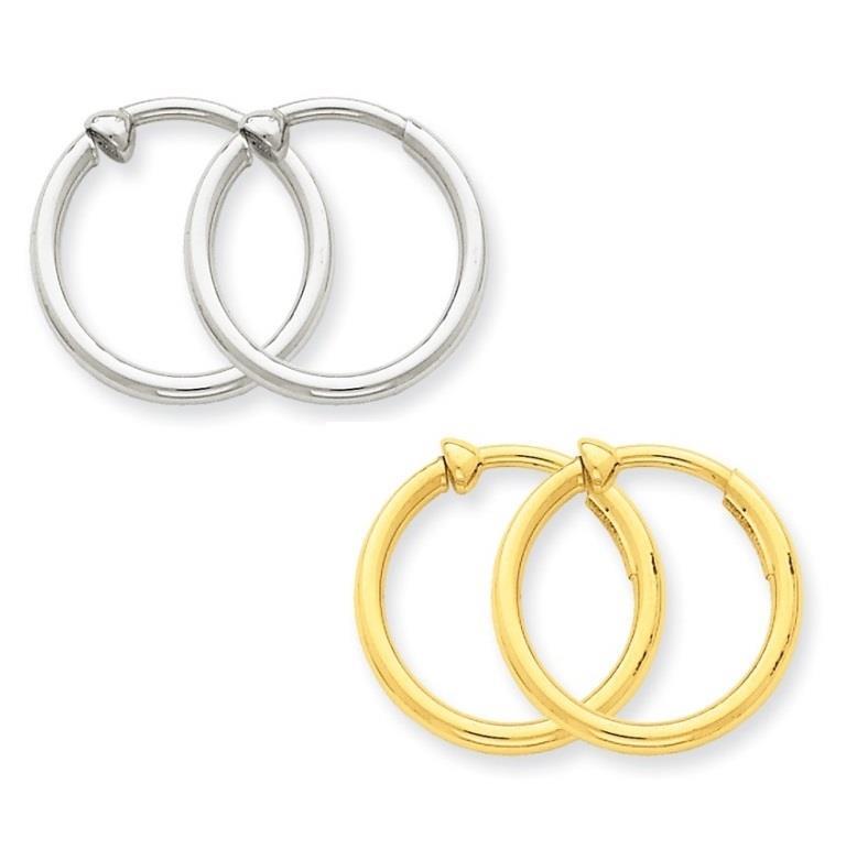 25 to 30mm 2.5 mm Non-pierced Clip On Hoop Earrings Genuine 14k White Gold