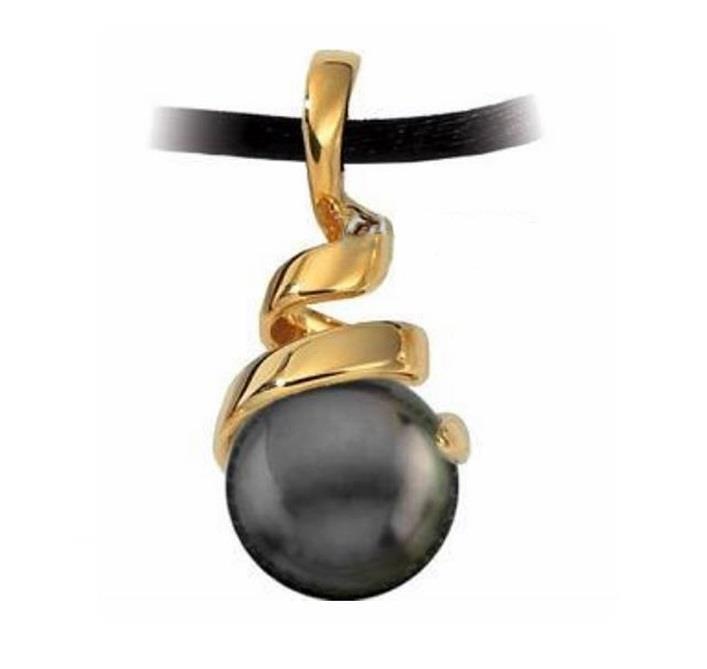 18k yellow gold 11 12mm tahitian black pearl pendant in spiral 18k yellow gold 11 12mm tahitian black pearl pendant in spiral design aloadofball Gallery