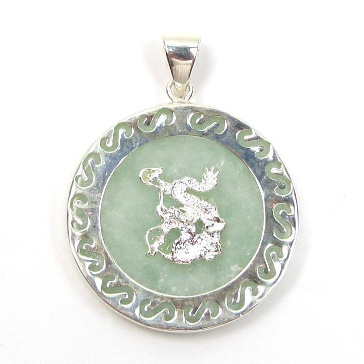 Genuine Light Natural Green Jade 925 Silver Dragon Pendant