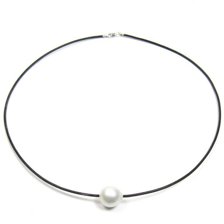 """18/"""" 13-14MM Australian South Sea White Pearl 1.5MM Leather Cord Necklace"""
