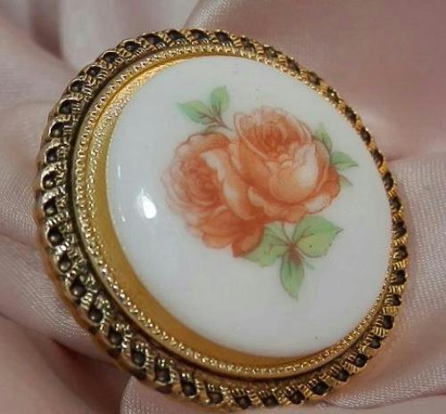 Pretty W. Germany Signed Vintage 50's Porcelain Peach Rose Scarf Slider 48M6