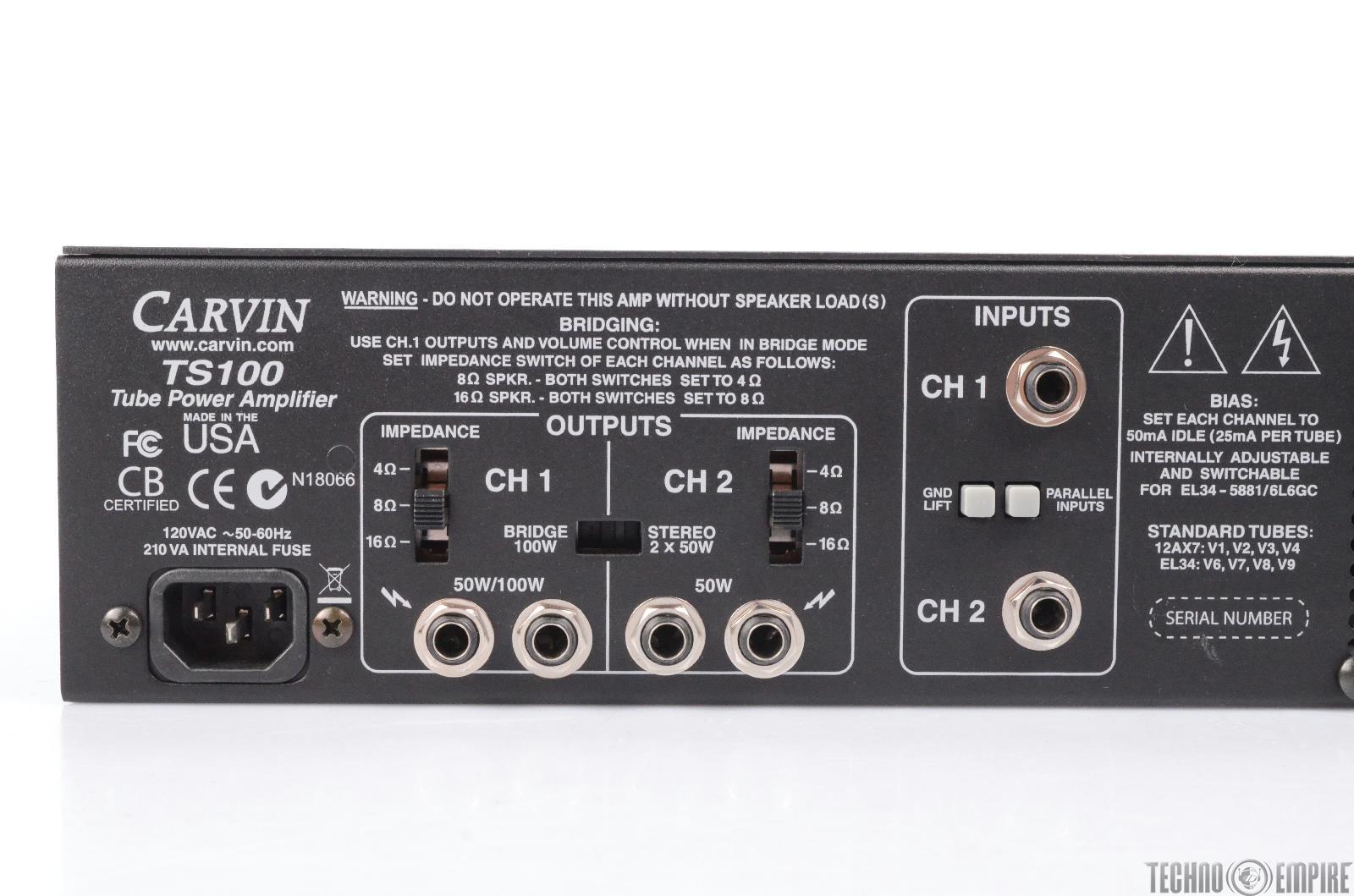 carvin ts100 tube power amplifier 24641 ebay. Black Bedroom Furniture Sets. Home Design Ideas