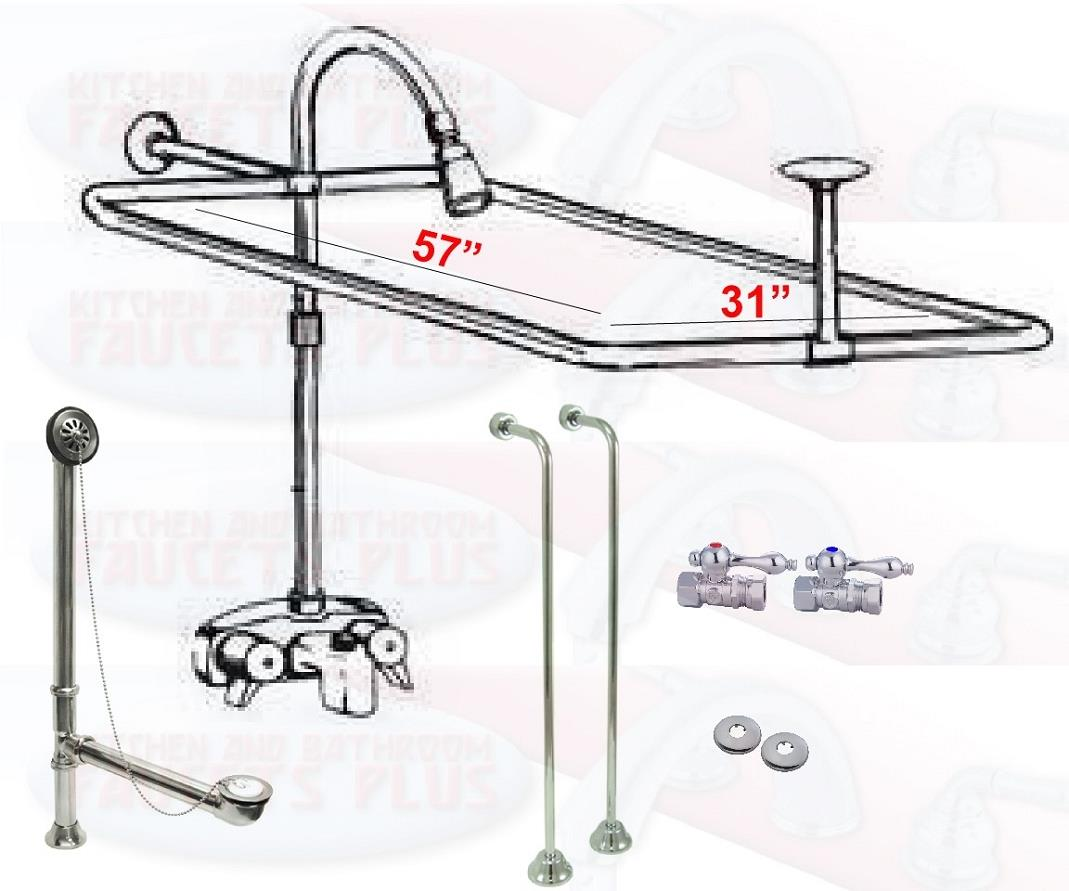 Details About Chrome Clawfoot Tub Faucet Add A Shower Kit W Curtain Rod Drain Supplies