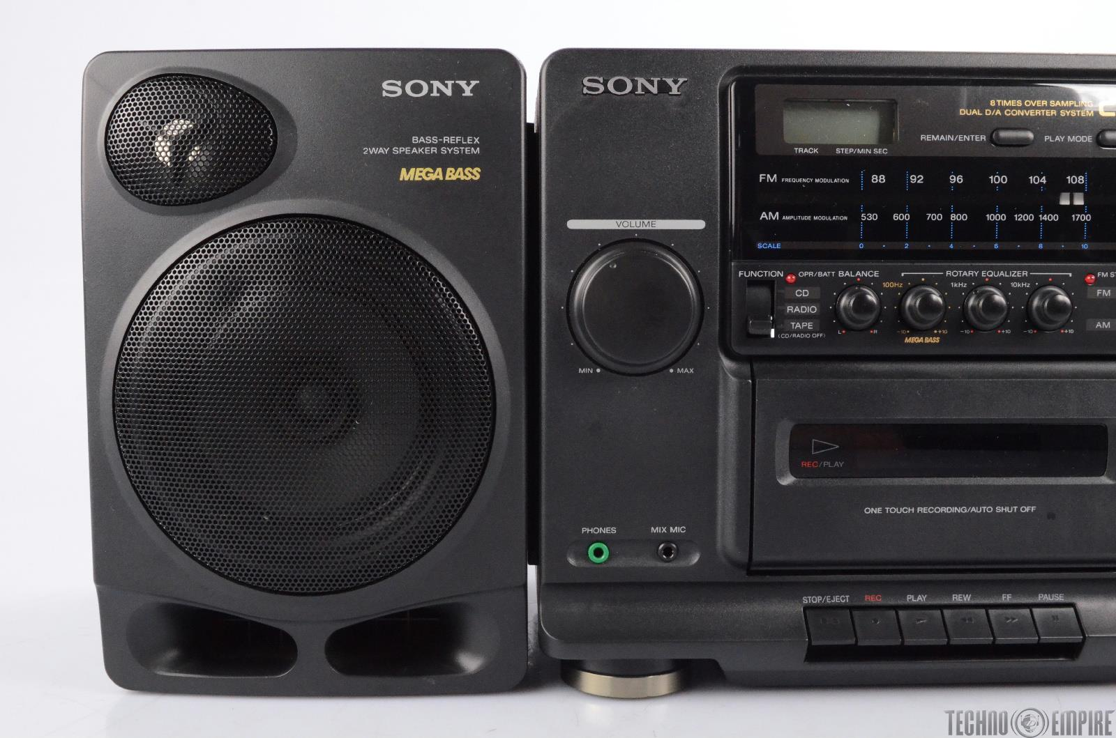 sony cfd 510 boom box stereo cd player radio mega bass w. Black Bedroom Furniture Sets. Home Design Ideas