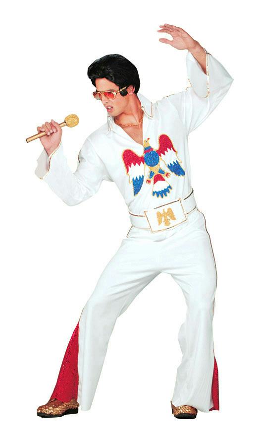 7605db19025b Men s Authentic Elvis Presley White Jumpsuit Adult Costume ...