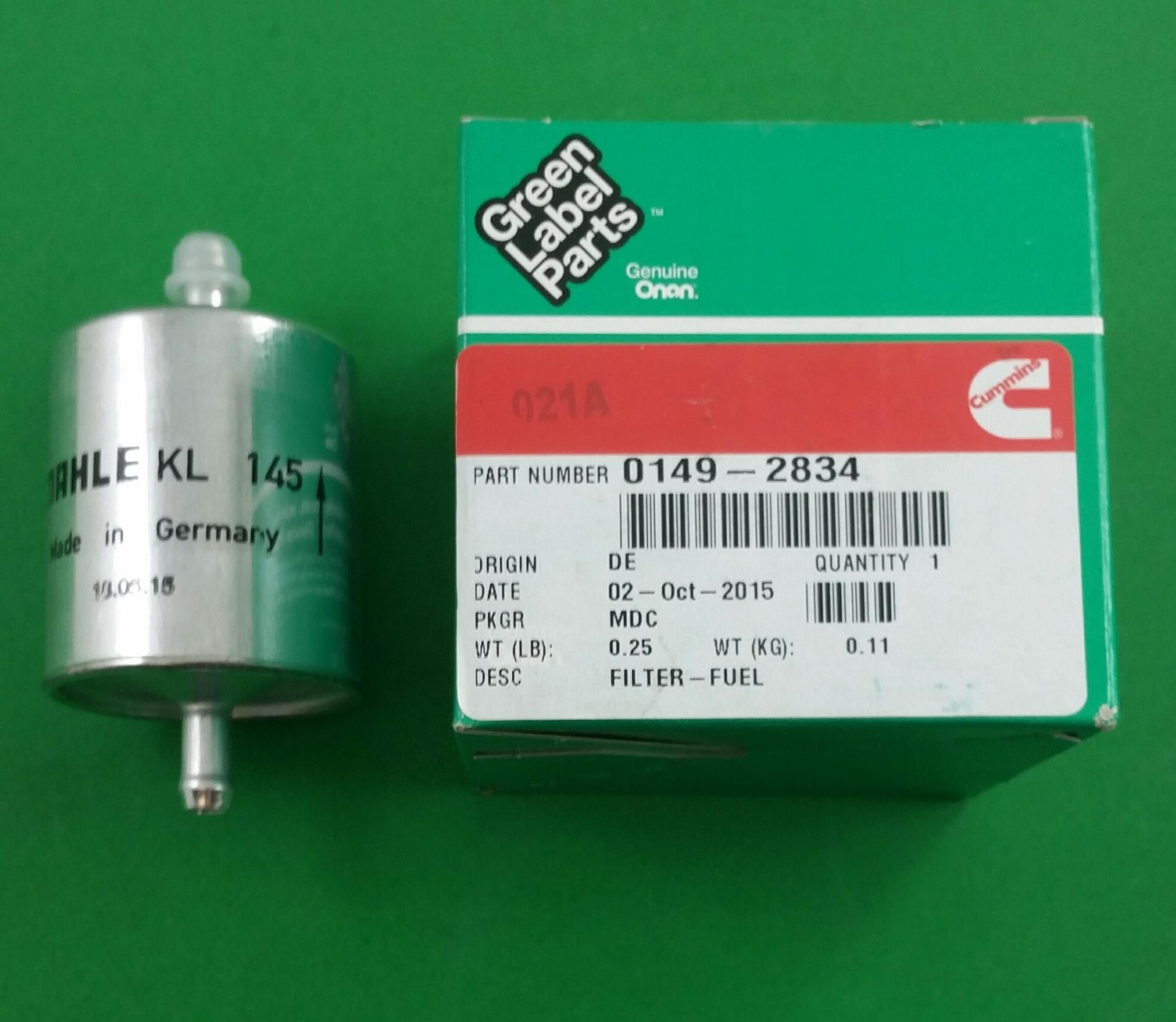 Onan 149 2834 Cummins Generator Fuel Filter Ebay