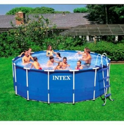 Pallet intex pool set 15ft x48in metal frame above ground for Above ground pool set