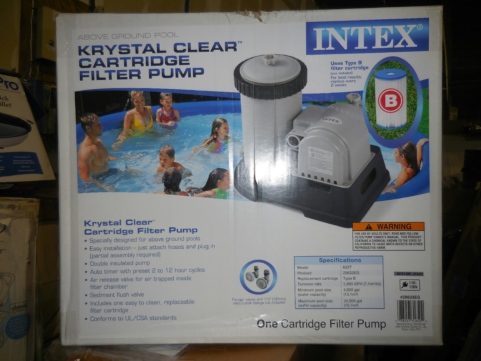 intex crystal clear cartridge 1 900 gph filter pump 28633eg ebay. Black Bedroom Furniture Sets. Home Design Ideas