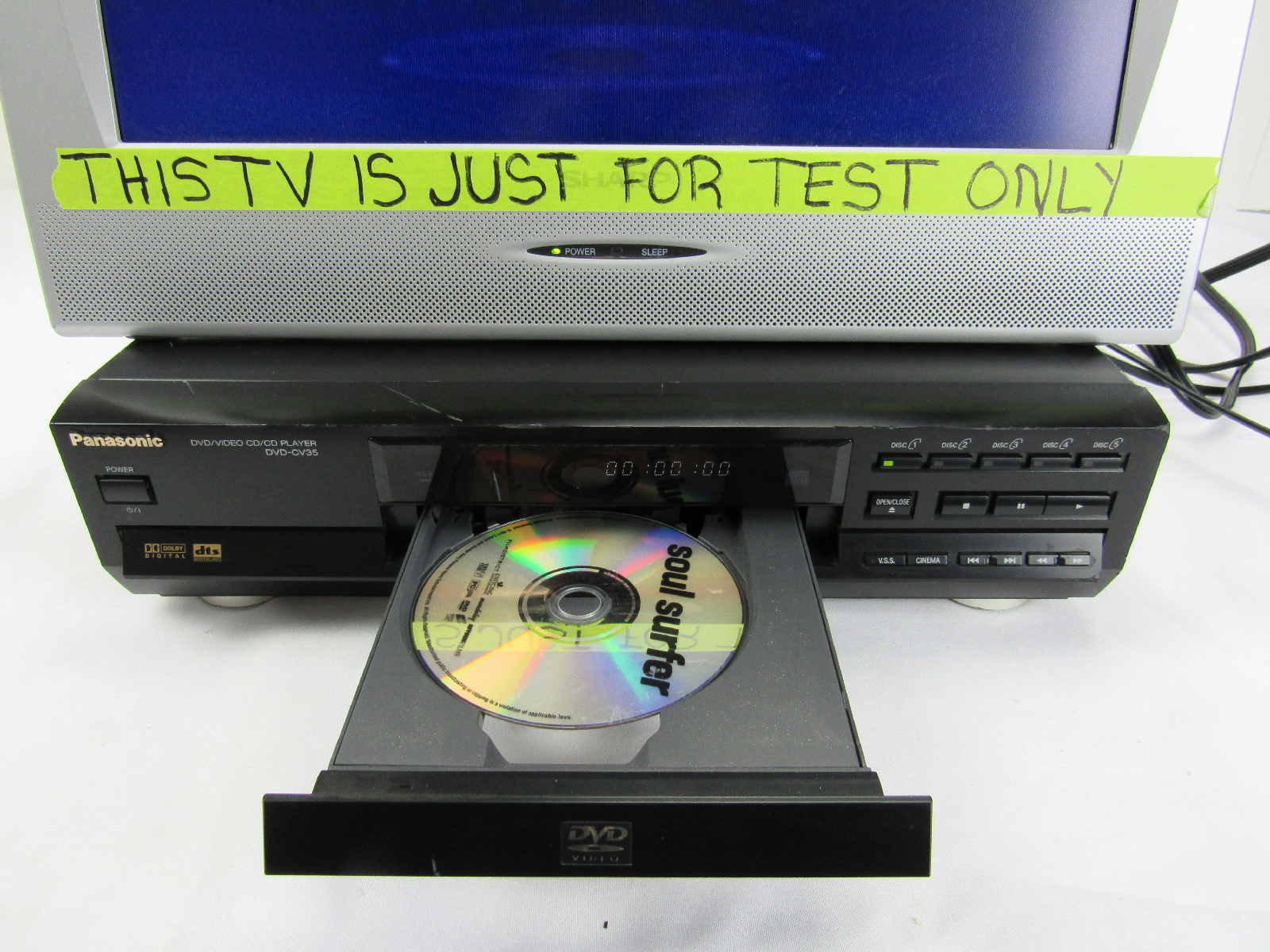 panasonic dvd cv35 5 disc cd dvd player tested working. Black Bedroom Furniture Sets. Home Design Ideas