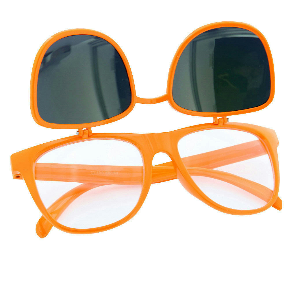 80/'s Orange Mirror Lens Flip Up to Clear Lens Blues Brother Glasses Eyewear