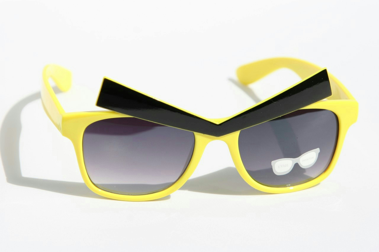 Yellow Frame Angry Expression Eyes Black Eyebrows Glasses Dark Lens ...