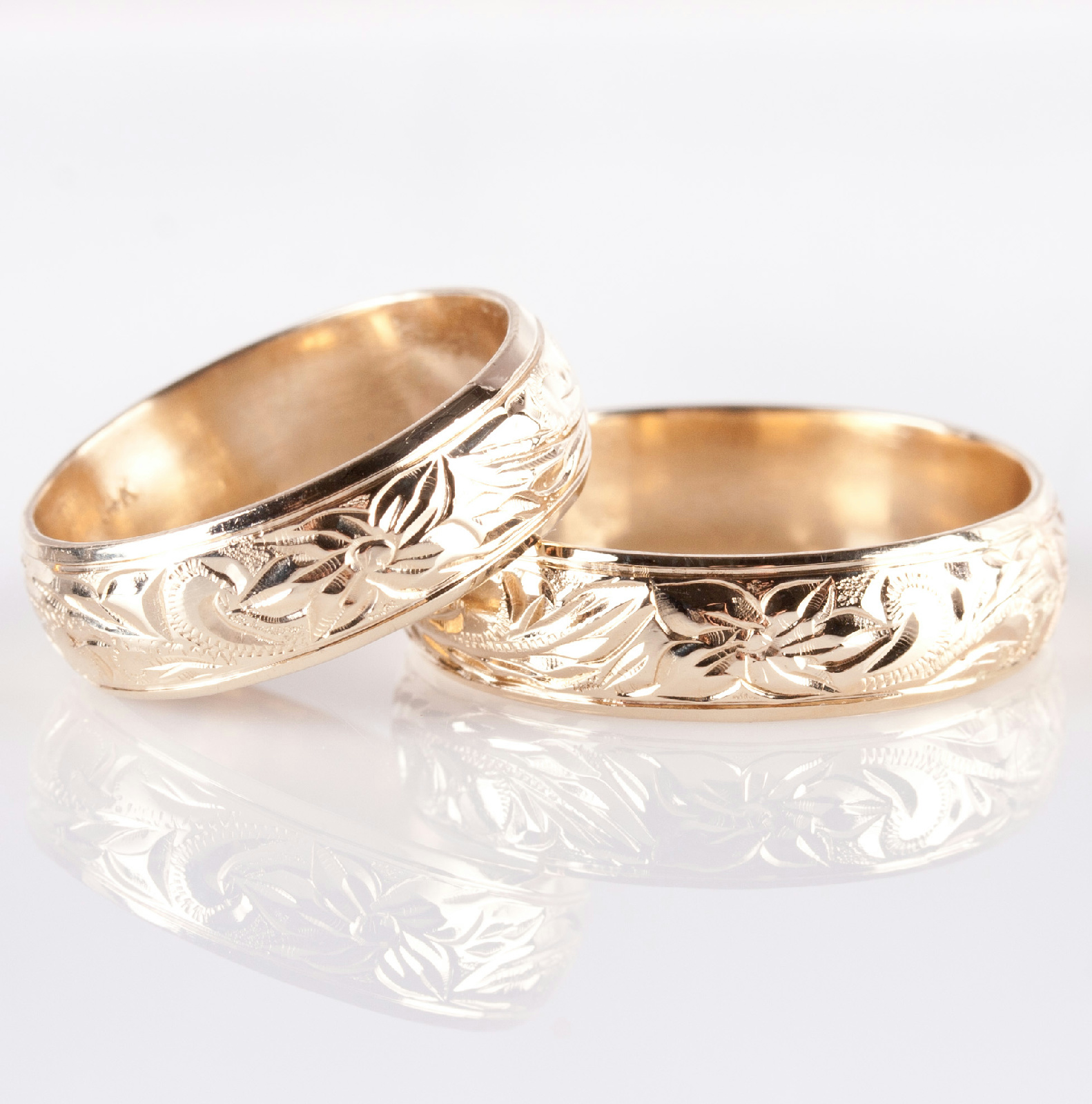 Floral Bands: 14k Yellow Gold Etched Floral / Leaf Design Matching