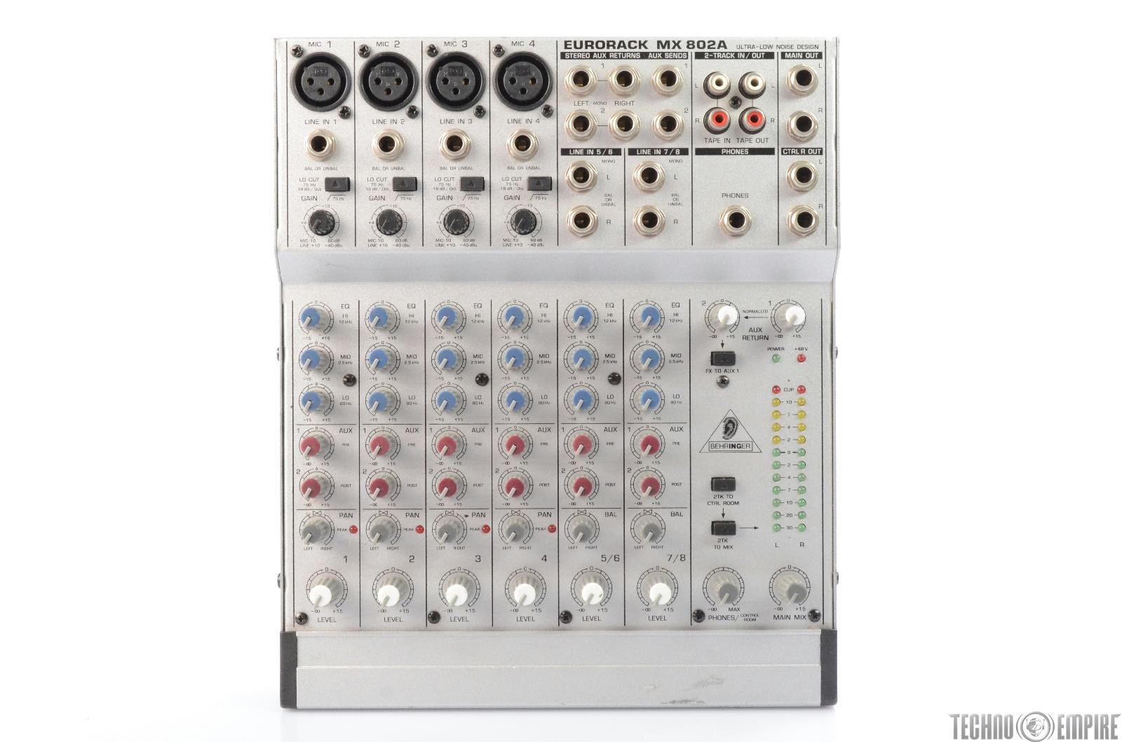 behringer mx802a eurorack 8 channel compact mixer w power supply 25577. Black Bedroom Furniture Sets. Home Design Ideas
