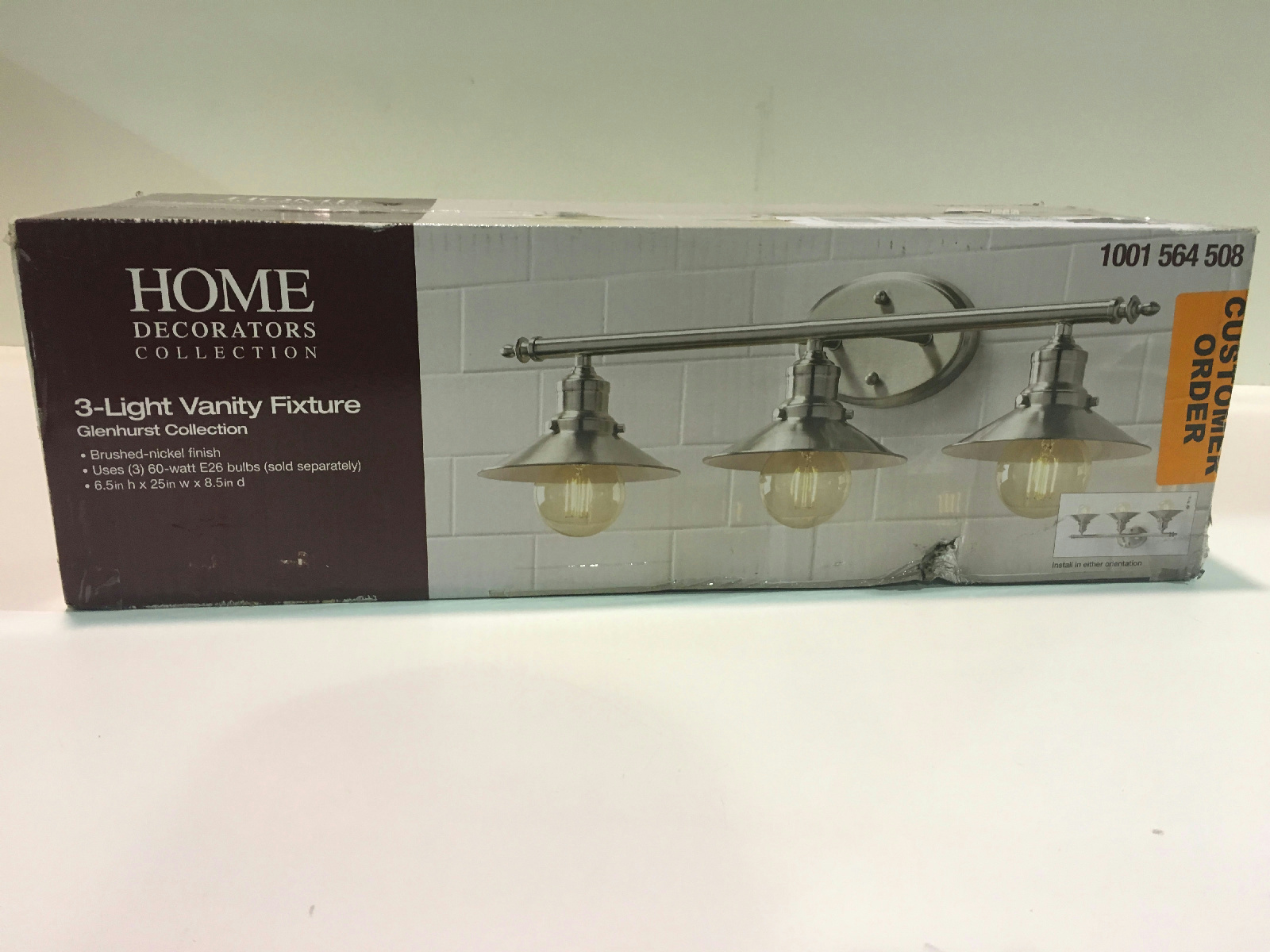 Home Decorators Collection Glenhurst 3 Light Brushed Nickel Retro Vanity Light Ebay