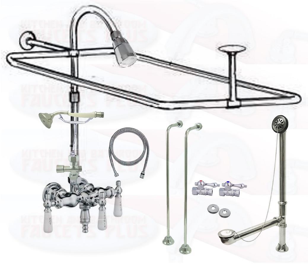 Chrome Clawfoot Tub Faucet Add A Shower Kit W Drain Supplies Stops 11509