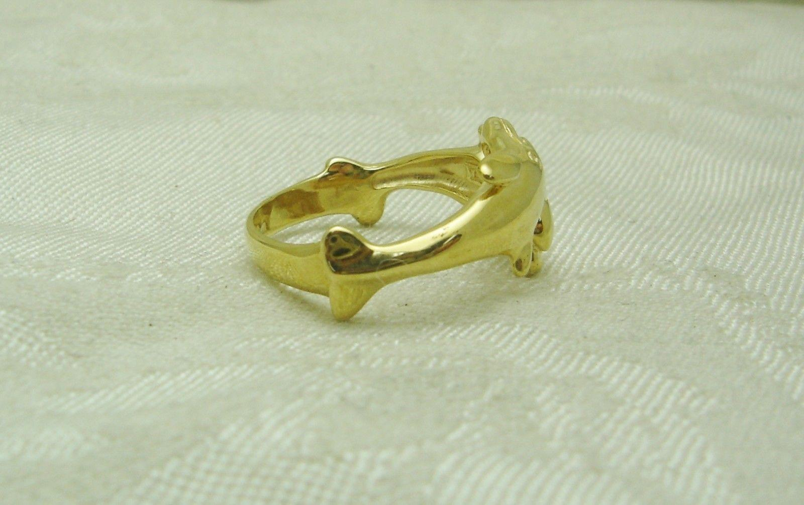 14k solid yellow gold dolphin ring size 8 fish