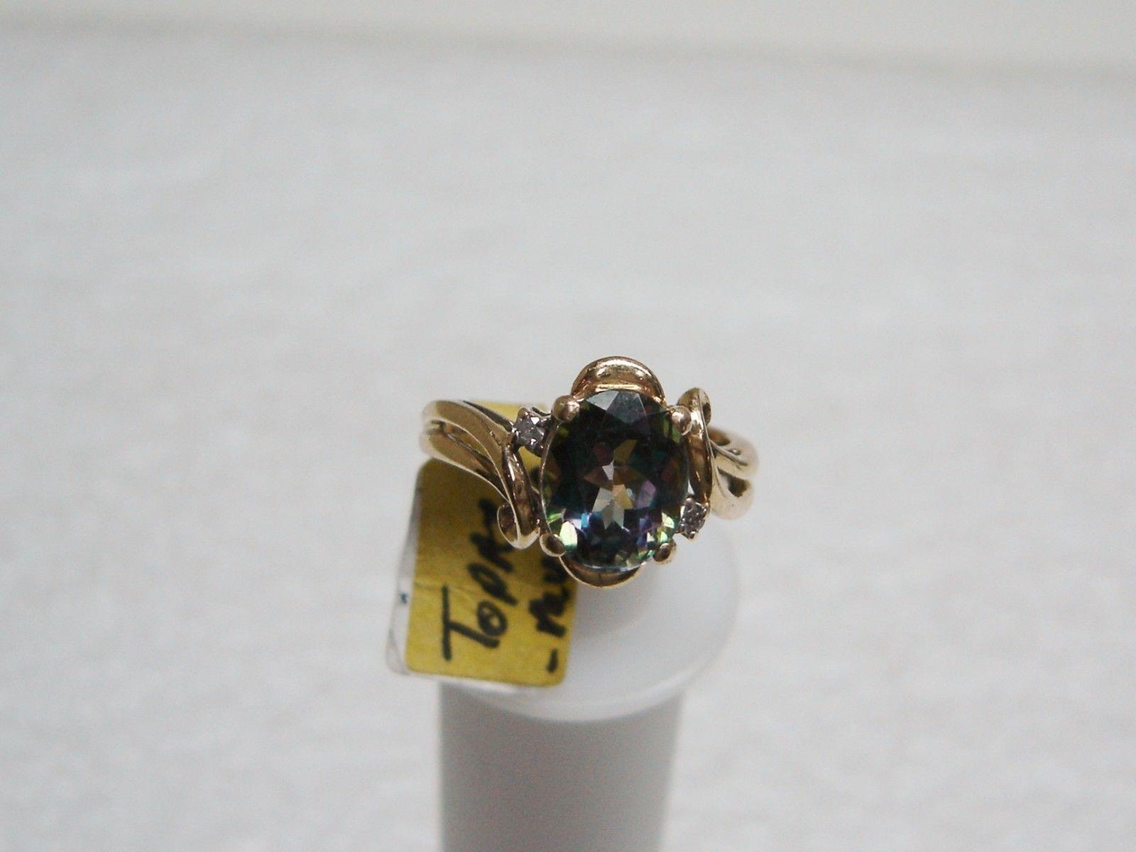 14k yellow gold mystic topaz and 2 ring size 7 g19