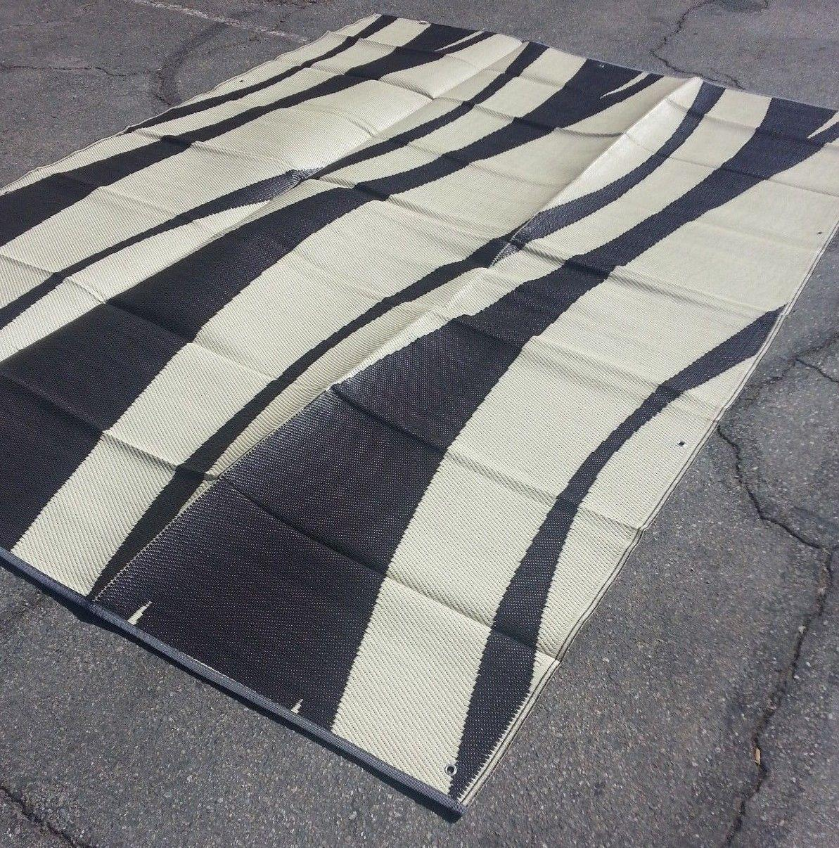white rv wh patio blackwhite reversible outdoor camco checkered p awning mat black