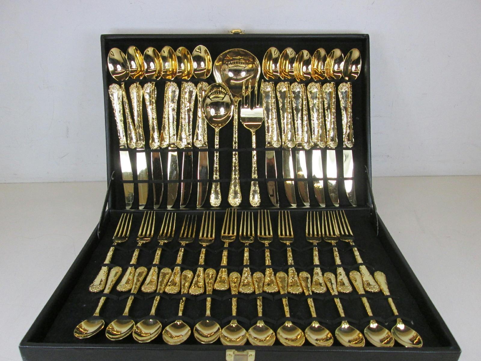 51 Piece Gold Tone Goldtone Flatware Silverware Complete