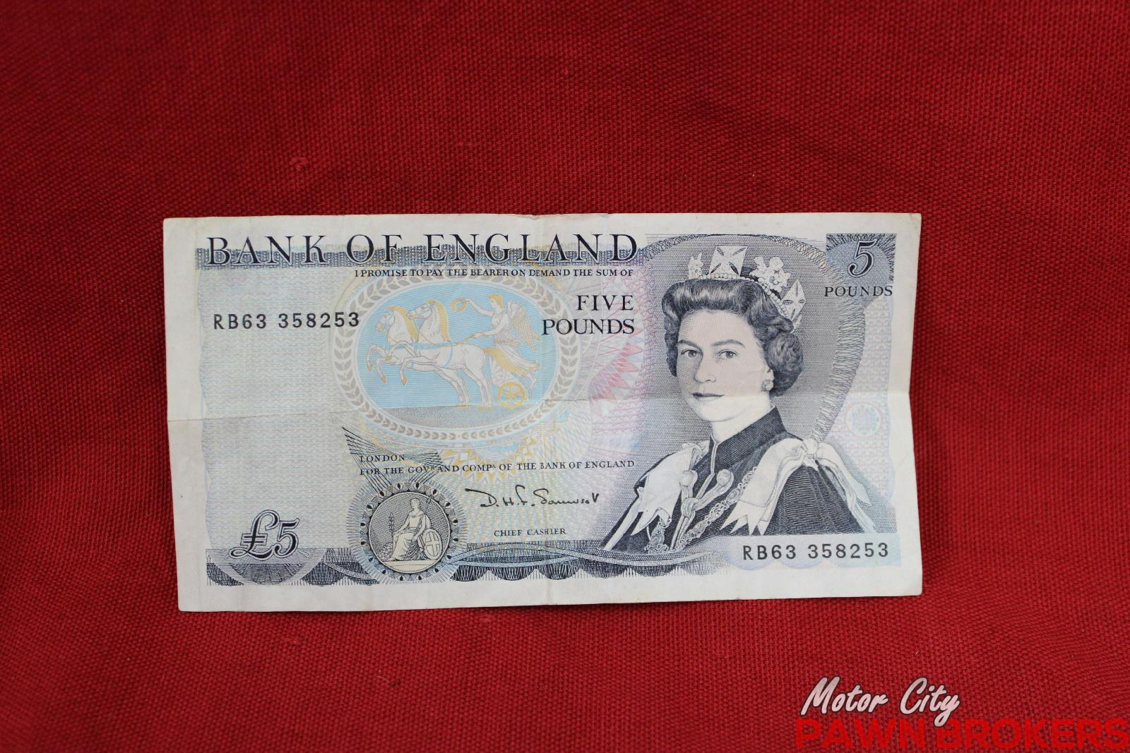 Bank of england 5 pound note duke of wellington 1971 for Motor city pawn brokers roseville mi