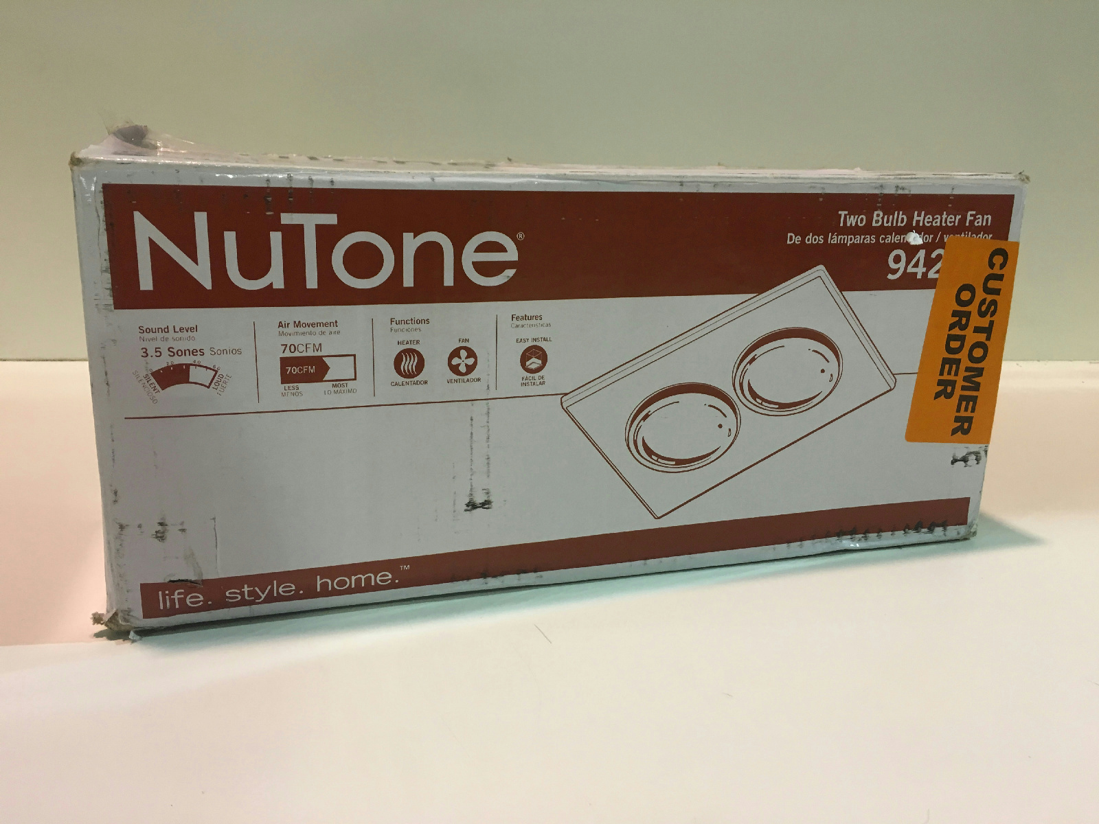 NuTone 9427P 70 CFM Ceiling Exhaust Fan With 2