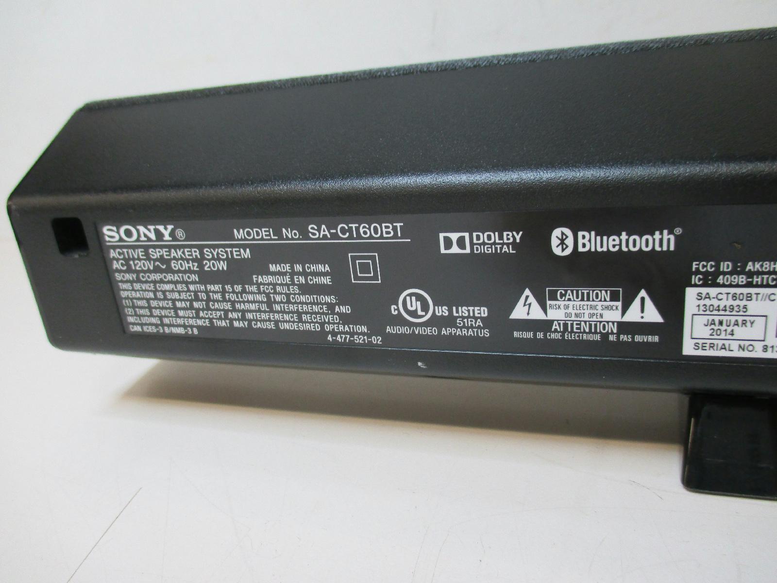 sony sound bar model sa ct60bt active speaker system ebay. Black Bedroom Furniture Sets. Home Design Ideas