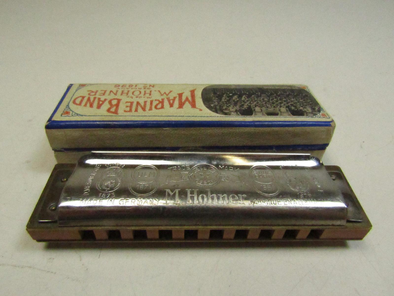 vintage m hohner 1896 marine band harmonica musical instrument key of g in box ebay. Black Bedroom Furniture Sets. Home Design Ideas