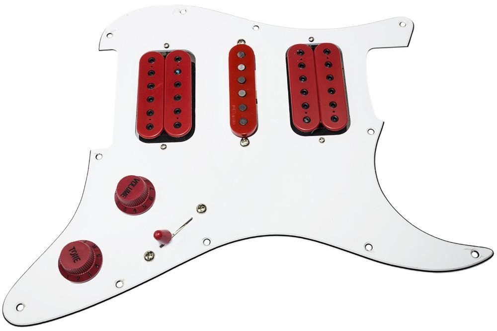 loaded hsh strat pickguard  dimarzio evolution set  vai wiring  white  red DiMarzio HSH Wiring HSH Strat Wiring