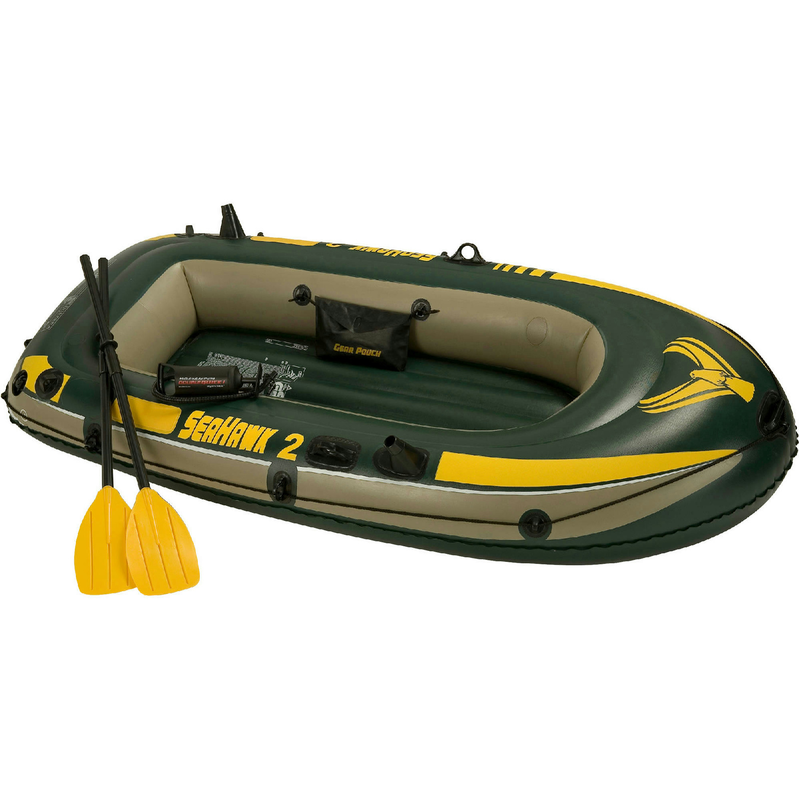 Details about intex inflatable seahawk 2 two person boat w oars amp pump