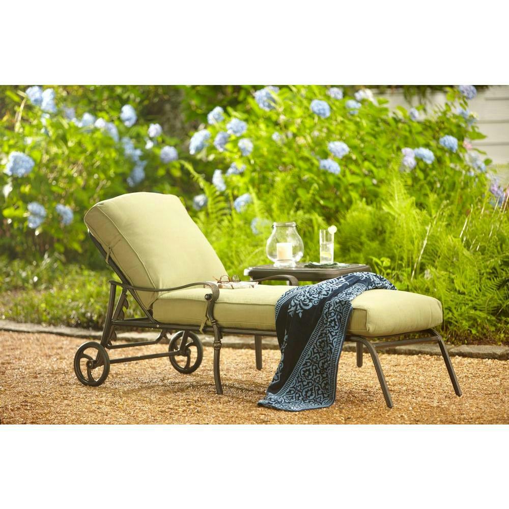 Hampton bay edington cast back adjustable patio chaise for 23 w outdoor cushion for chaise