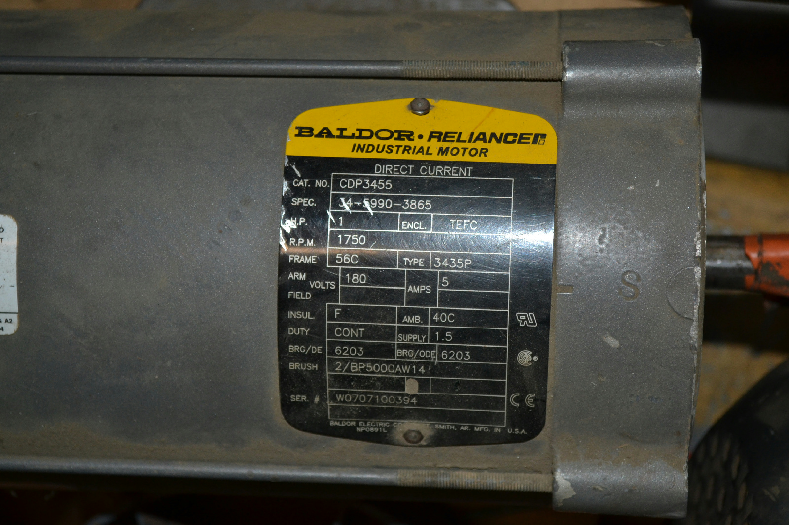baldor cdp3455 1 hp dc motor 1750 rpm frame 56c arm 50
