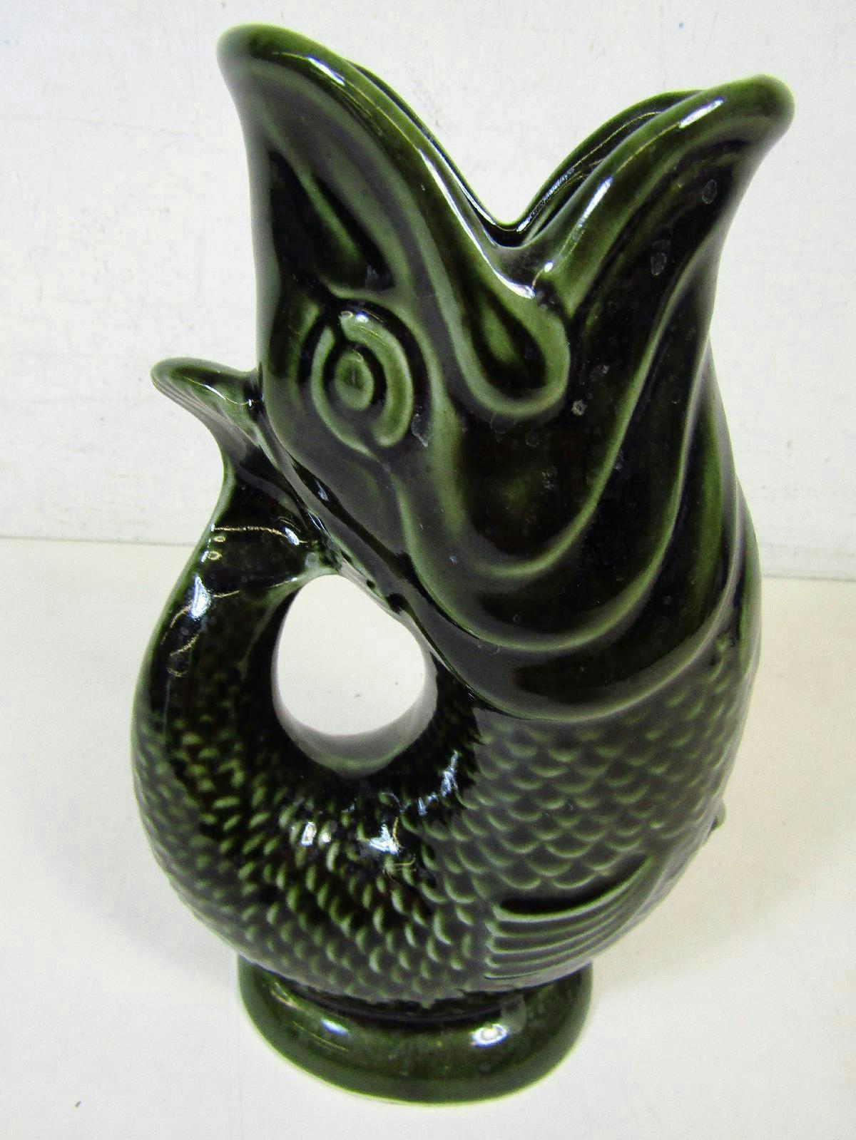 Vintage dartmouth devon england green gurgling fish pitcher ebay - Fish pitcher gurgle ...