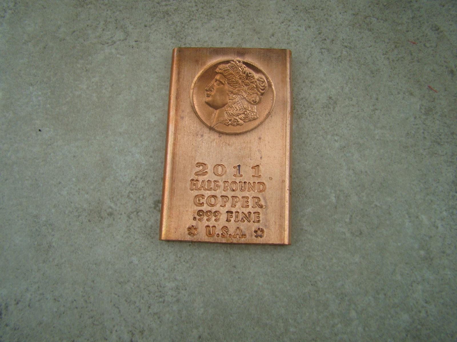 8 oz Copper Bar .999 Fine Ingot Bullion Buffalo 1//2 LB Made in the USA 2009