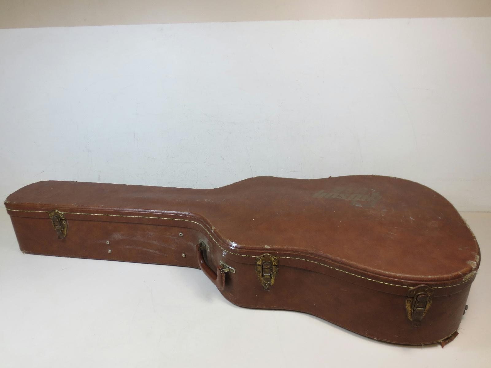 vintage brown leather pink plush gibson usa hardshell acoustic guitar case ebay. Black Bedroom Furniture Sets. Home Design Ideas