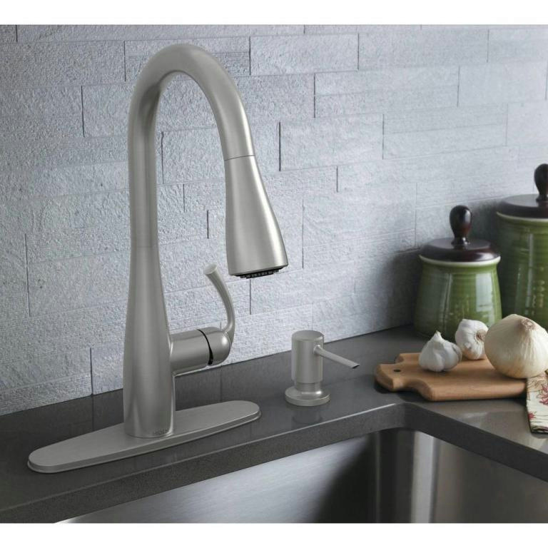 Kitchen Faucet With Sprayer And Soap Dispenser: MOEN Essie 1 Handle PullDown Sprayer Kitchen Faucet With