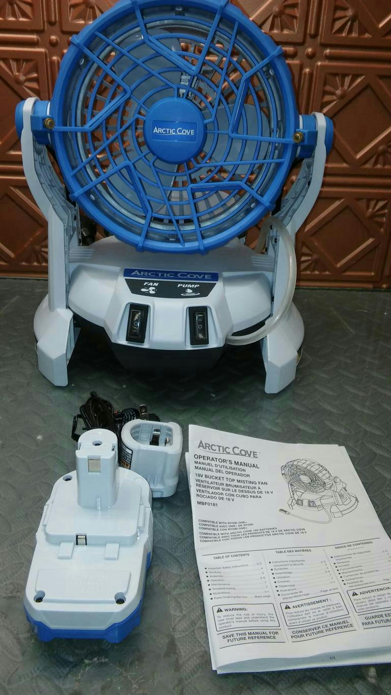 2 Artic Cove 18 Volt Two Speed Misting Bucket Top Fan