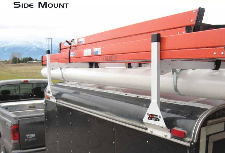 Truck Pipe Rack >> Details About Cube Box Truck Enclosed Trailer 2pc Black Side Mount Ladder Rack 72 75 High