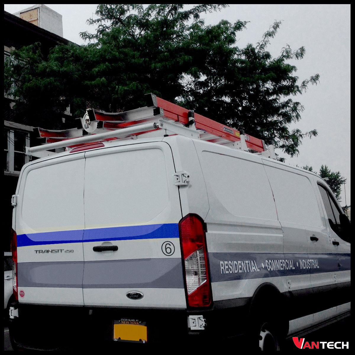 Vantech White H1 2 Bar Steel Ladder Roof Rack Ford Transit Cargo 2015-On Fits