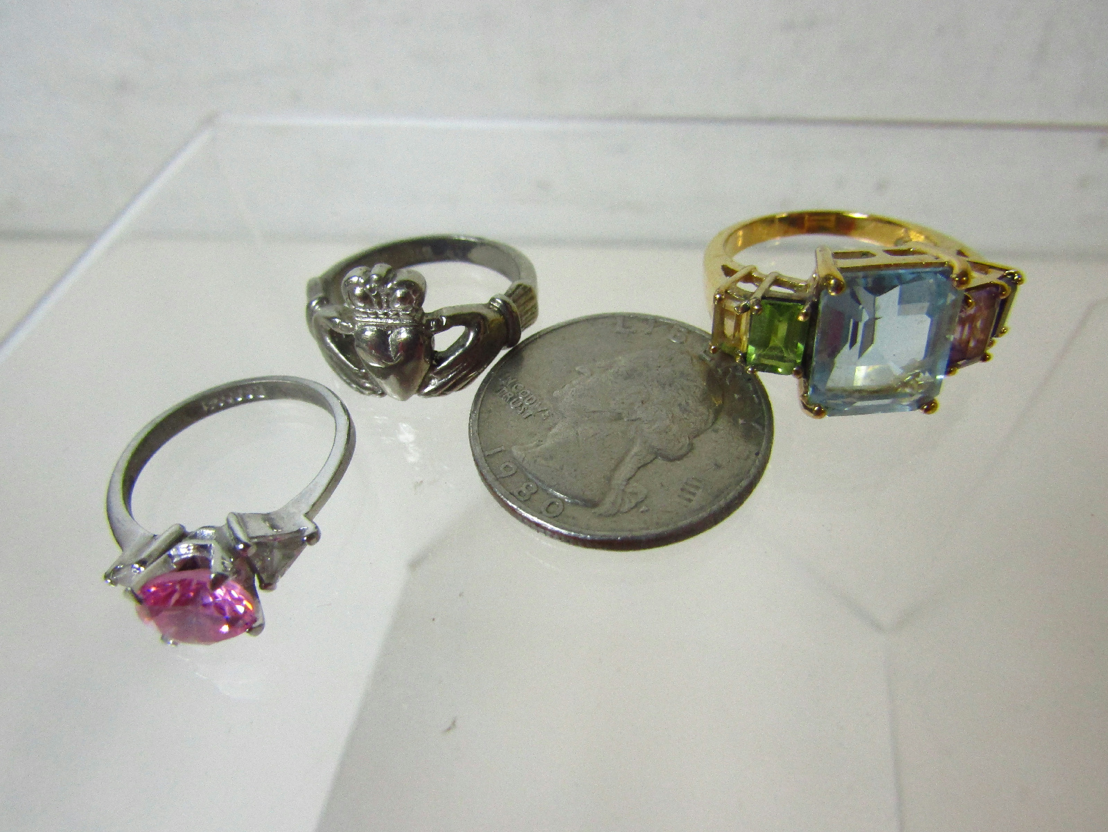 sterling silver failed magnet test jewelry rings lot