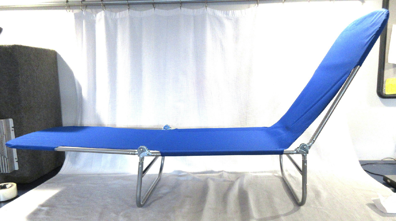 Folding multi position chaise lounge beach chair metal for Beach lounge chaise